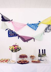 scarf bunting >> Would be so cute paired with a lovely paper garland!