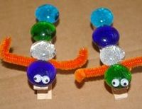Clothespin caterpillar clips