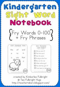 Kindergarten Fry Word List Printable--FREE!