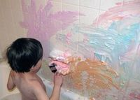 Shaving Cream + Food Coloring = Awesome Shower Paint