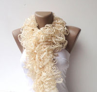 scarf women hand knitted ruffled scarf - vanilla cream long scarves ruffle knitting
