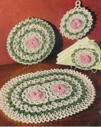 Rose Hotpad Crochet Pattern Set free pattern