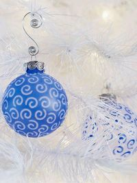 Christmas Ornament with Frosty Blue Swirls