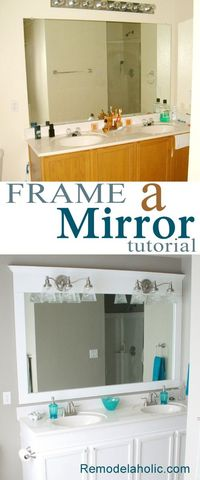 Frame a bathroom mirror in place tutorial. #mirror #framed mirror #bathroom