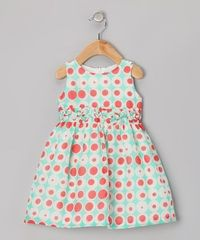 Take a look at this Aqua & Red Double Dot Silk-Blend Dress - Infant & Toddler by Willoughby on #zulily today!