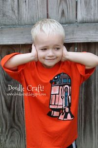 R2D2 T-shirt made with Freezer paper and paint! Super simple and awesome!