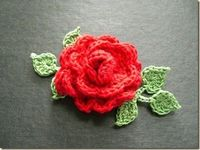 Crocheted Rose corsage with 6 leaves from Crochet Bouquet - Shelly page 68 leaves page 114