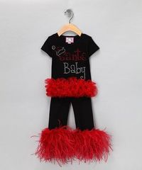 Take a look at this Black 'Santa Baby' Ruffle Top & Pants - Infant, Toddler & Girls by Born 4 Couture on #zulily today!