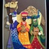 Three Wise Men...beautifully die cut with a camel on a card...