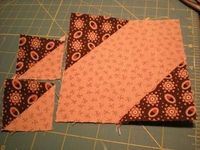 how to make 2 different size square triangles at the same time, out of the same block - GENIUS!