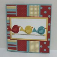 "Gatefold card (another pic on website showing it unfolded) using Stampin' Up!'s ""Cheep Talk"" set"