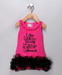 Take a look at this Pink 'Attitude' Ruffle Dress - Infant & Toddler by Born 4 Couture on #zulily today!