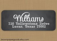 Custom return address labels, self-adhesive, rectangle, Chalkboard Label. Chalkboard return address label. $17.00, via Etsy.