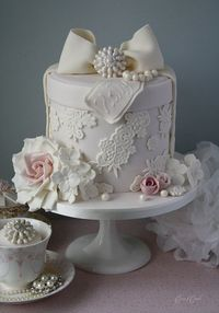 Lace hat box cake. Triple chocolate cake.