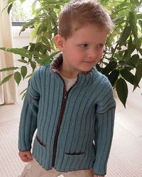 Boys jacket, zip front and pockets - P012 by OGE Knitwear Designs - AU$5.00 AUD