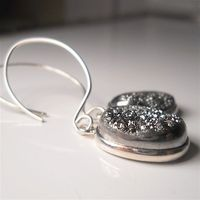 Silver Grey Druzy earrings $54