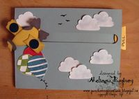 """Stamp sets: Up, Up, and Away Cardstock: Whisper White, Baja Breeze, Daffodil Delight, Basic Gray, Night of Navy Ink: Basic Black, Island Indigo, Gumball Green, Real Red Accessories: Large Oval punch, Modern Label punch, Build-a-Cupcake punch, 1/2"""" cir..."""