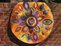 In Bloom Orange Applique Quilt Portion of by PippaPatchwork