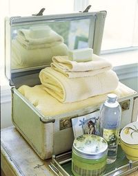 Special Touches for the Guest Room Use a old women's vanity case!!!
