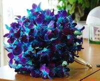 Purple and blue orchid bouquet