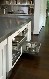 Stainless steel drawers.