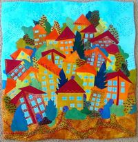 Art Quilt: HIll Village