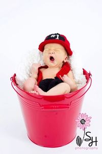 Firefighter Hat and Diaper Cover Set Newborn Photo