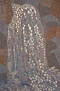 Waterfall, rare full-sized hand-clipped porcelain and ceramic tile wall mosaic.