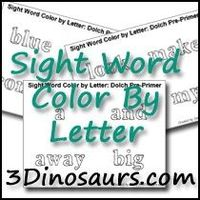 Free Color by Letter for the Dolch Sight Words: Pre-Primer, Primer and First Grade - 3Dinosaurs.com