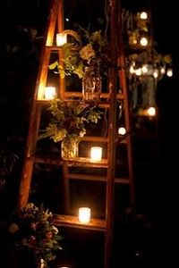 ladder with flowers and candles, love this idea