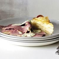 Corned beef with mustard chive sauce & potato & onion cake recipe from Cuisine Magazine