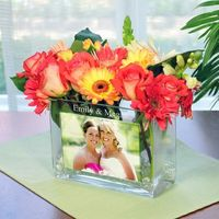 Personalized Glass Photo Vase -Great idea for my bridesmaids or as reception table centerpieces.
