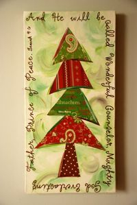"A Christmas canvas with a tree made out in various Christmas scrapbook papers. This will appeal to anyone during the holiday season!! Dark chocolate painted sides. Size is 10"" x 20"". depth of canvas is 5/8"" thick."