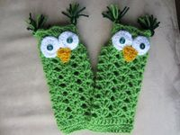 OWL FINGERLESS MITTENS Cute Green Owly Gloves by Bluetulipgifts, $18.99