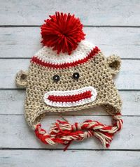 infant boy sock monkey crochet hat by SweetBabiesinYarn on Etsy, $19.50