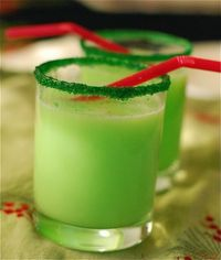 For Christmas Eve while watching The Grinch - Grinch Punch with Sprite and Lime sherbet and Green Sprinkles/sugar rim.