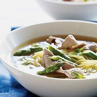 Chinese pork asparagus soup