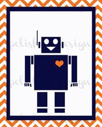 Modern Navy and Orange Chevron Robot Nursery Art by polisheddesign, $6.00