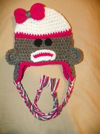 Sock Monkey hat for infant by TwoHookingAddicts on Etsy, $20.00