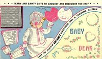 Vogart 164 Vintage Crochet & Hand Embroidery Pattern for Baby 1950s