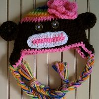 rainbow crochet sock monkey hat by dinoattack on Etsy, $20.00