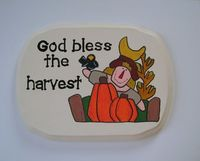 God bless the harvest wall hanging by ifrogcrafts on Etsy. With the way the weather has been this year, we need to remember to pray for the crops!