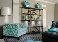 Fun teal and gray living area New colors?!?