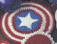 Looks almost like a Captain America Shield. Free American Stars & Stripes Hot Pad Crochet Pattern