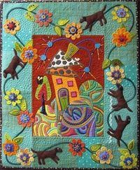 folk art house quilt