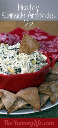 Healthy Spinach Artichoke Dip. An easy, creamy, low calorie makeover in the slow cooker or oven. - Click image to find more popular food & drink Pinterest pins