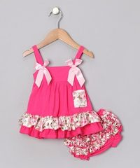 Take a look at this Fuchsia Floral Ruffle Dress & Diaper Cover - Infant by Under The Hooded Towels on #zulily today!