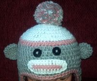 Sock monkey hat, crocheted, photo prop