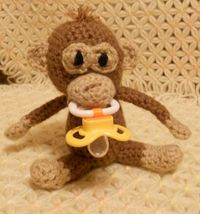 Crocheted PaciMonkey Pacifier Holder by thecrafter on Etsy