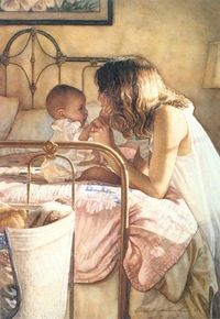 steve hanks art paintings Mama & baby .... precious!